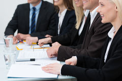 Empresaria en una reunión Fotos de archivo libres de regalías