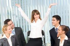 Empresaria feliz acertada imagen de archivo libre de regalías