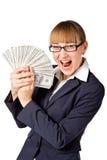 Empresaria feliz con los dólares Imágenes de archivo libres de regalías