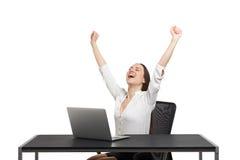Empresaria feliz emocionada Fotos de archivo