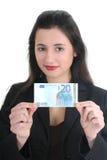 Empresaria feliz que muestra el dinero Foto de archivo