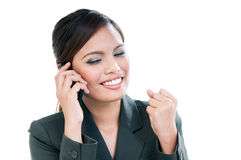 Empresaria feliz Using Cellphone imagenes de archivo