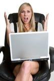 Empresaria frustrada de Lapttop Fotos de archivo