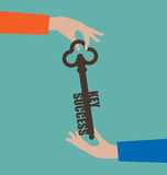 Empresaria Giving Key al éxito stock de ilustración