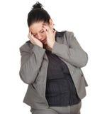 Empresaria gorda que sufre del dolor, dolor de cabeza Imágenes de archivo libres de regalías