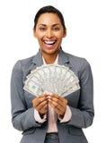 Empresaria Holding Fanned Out cincuenta notas del dólar Imagen de archivo libre de regalías