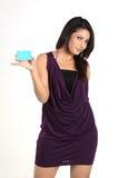 Empresaria india con de la tarjeta de crédito Fotografía de archivo libre de regalías