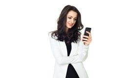 Empresaria joven aislada en blanco Fotos de archivo