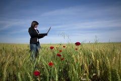 Empresaria joven con la computadora portátil en campo del poppie Fotos de archivo libres de regalías