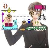Empresaria joven con los movimientos logísticos Fotos de archivo libres de regalías