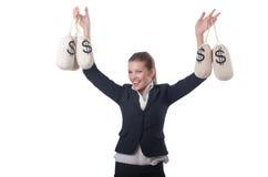 Empresaria joven con los sacos del dinero Fotografía de archivo