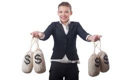 Empresaria joven con los sacos del dinero Fotos de archivo