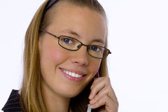 Empresaria joven que habla en el teléfono celular. Imagen de archivo