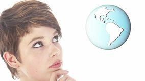 Empresaria joven que mira el mundo azul almacen de video