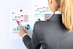 Empresaria joven que muestra gráficos por la pluma fotografía de archivo