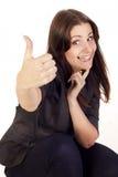Empresaria joven que muestra a mano la muestra aceptable Imagenes de archivo