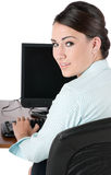 Empresaria joven que pulsa, aislado Foto de archivo libre de regalías