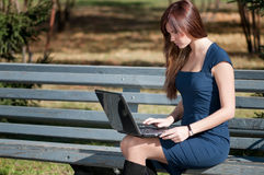 Empresaria joven que usa el cuaderno Fotografía de archivo libre de regalías