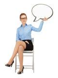 Empresaria pensativa con la burbuja en blanco del texto Imagenes de archivo
