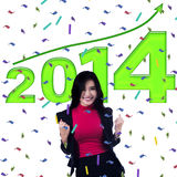 Empresaria que celebra un Año Nuevo Imagen de archivo libre de regalías