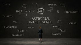 Empresaria que coloca la pared negra, icono digital de la escritura, concepto de 'inteligencia artificial' en la pizarra libre illustration