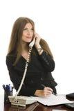 Empresaria que contesta al teléfono Foto de archivo