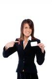 Empresaria que empuja una tarjeta que la señala Imagen de archivo