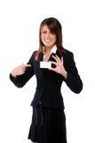 Empresaria que empuja una tarjeta que lo señala Imagenes de archivo