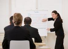 Empresaria que explica la presentación Imagen de archivo