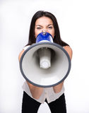 Empresaria que grita en megáfono Fotografía de archivo