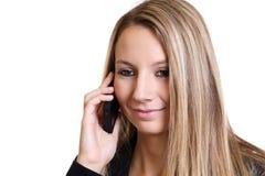 Empresaria que habla en el teléfono Imágenes de archivo libres de regalías