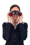 Empresaria que mira a través de los prismáticos Imagen de archivo libre de regalías
