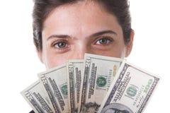 Empresaria que muestra el dinero Fotos de archivo libres de regalías