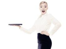 Empresaria que muestra el espacio de la copia anuncio Imágenes de archivo libres de regalías