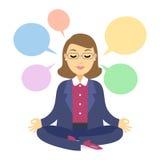 Empresaria que piensa durante la meditación Mujer que hace yoga stock de ilustración