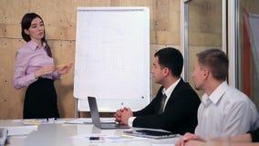 Empresaria que presenta proyecto a sus colegas almacen de metraje de vídeo
