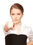 Empresaria que señala su dedo Imagen de archivo