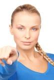 Empresaria que señala su dedo Imagen de archivo libre de regalías