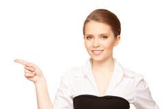 Empresaria que señala su dedo Foto de archivo