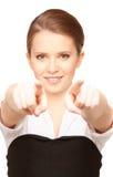 Empresaria que señala sus dedos Imagenes de archivo