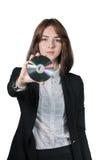 Empresaria que sostiene el disco cd en su mano foto de archivo