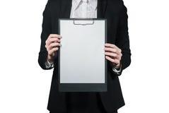 Empresaria que sostiene el tablero en su mano Imágenes de archivo libres de regalías