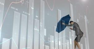Empresaria que sostiene un paraguas contra una tormenta 4k ilustración del vector