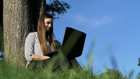 Empresaria que trabaja en el ordenador portátil en el parque al aire libre metrajes