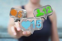 Empresaria que usa el medios rende social colorido digital de los iconos 3D Imagenes de archivo