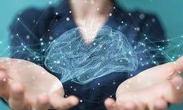 Empresaria que usa el rende digital del interfaz 3D del cerebro humano de la radiografía ilustración del vector
