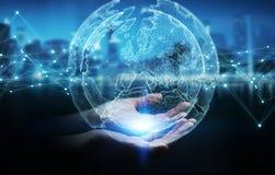 Empresaria que usa la representación de la esfera 3D de la red de la tierra del planeta Fotografía de archivo libre de regalías