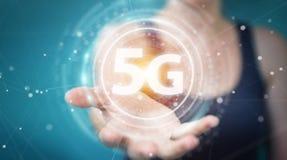 Empresaria que usa la representación del interfaz de red 5G 3D ilustración del vector