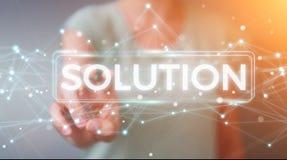 Empresaria que usa la representación digital del texto 3D de la solución libre illustration