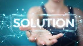 Empresaria que usa la representación digital del texto 3D de la solución stock de ilustración